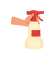 hand holding cleaning spray bottle human hand vector image
