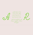handwritten italic light font uppercase and vector image
