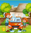 happy people washing car vector image