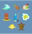 hawaii icons tiki gods totem pole tiki torches vector image