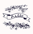 hello lettering with ribbon and hand drawn flowers vector image vector image