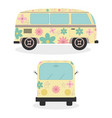 hippie vans with floral print vehicles vector image vector image