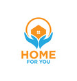 home and hand logo design template vector image