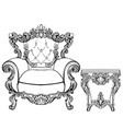 imperial baroque armchair and coffee table with vector image vector image