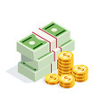 isometric money isolated on white background vector image