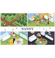 isometric nanny work composition vector image vector image