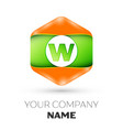 letter w logo in the colorful hexagonal vector image vector image
