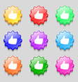 Like Thumb up icon sign symbol on nine wavy vector image vector image
