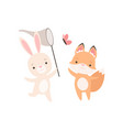 lovely white little bunny and fox cub catching vector image vector image
