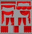 luxury set of red velvet silk curtains eps 10 vector image vector image