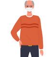 male character is wearing a mask coronavirus vector image