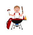 man preparing food on a barbecue grill vector image vector image