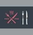 meat cutting knives and forks set steak butcher vector image