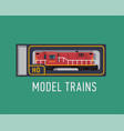 model trains flat design element with red scale vector image