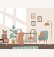 modern comfortable baby toddler bedroom nursery vector image