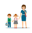 mother with school children vector image vector image