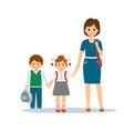mother with school children vector image