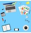 office desktop workspace vector image vector image