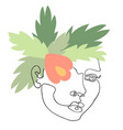outline woman face on floral vector image