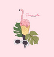 pink flamingo in icecream cone summer vibes vector image