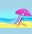 pink parasol - umbrella in paper cut style blue vector image