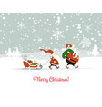 santa brothers in winter forest christmas card vector image
