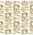 Seamless Pattern Paintbrushes and Tin Cans vector image vector image