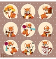 Series of cartoon images Fox in different roles vector image vector image