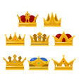 set king or queen golden crown icon vector image vector image