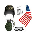 set military helmet with grenade and neclace vector image