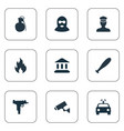 set simple police icons vector image