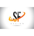 sf s f letter logo with fire flames design and vector image vector image
