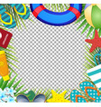 summer vacation beach accessories and palm leaves vector image vector image