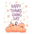 thanksgiving with pumpkins and text happy th vector image vector image