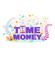 time is money flat concept with hourglass vector image