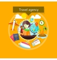 Travel Agent with Tickets in Hands Types of travel vector image