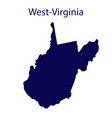 united states west virginia dark blue silhouette vector image