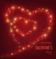 valentines day card with glittering line of hearts vector image vector image