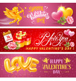 valentines day horizontal banners set vector image vector image