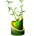Vase of bamboo with young bamboo shoots vector image vector image