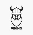 viking head in helmet vector image