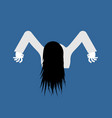 witch zombie isolated zombie girl with long hair vector image