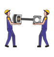worker mechanics with automotive piston spare part vector image vector image
