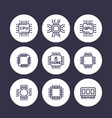 chipset cpu line icons set microchip gpu 8-core vector image