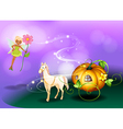 A fairy holding a flower with a pumpkin cart vector image vector image