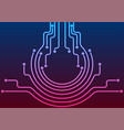 abstract blue purple neon circuit board lines vector image