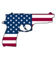 american flag gun automatic pistol handgun vector image vector image