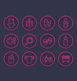 baby line icons set toys vector image