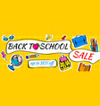 back to school sale doodles horizontal background vector image