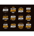 Brewery set logo label element Craft beer vector image vector image